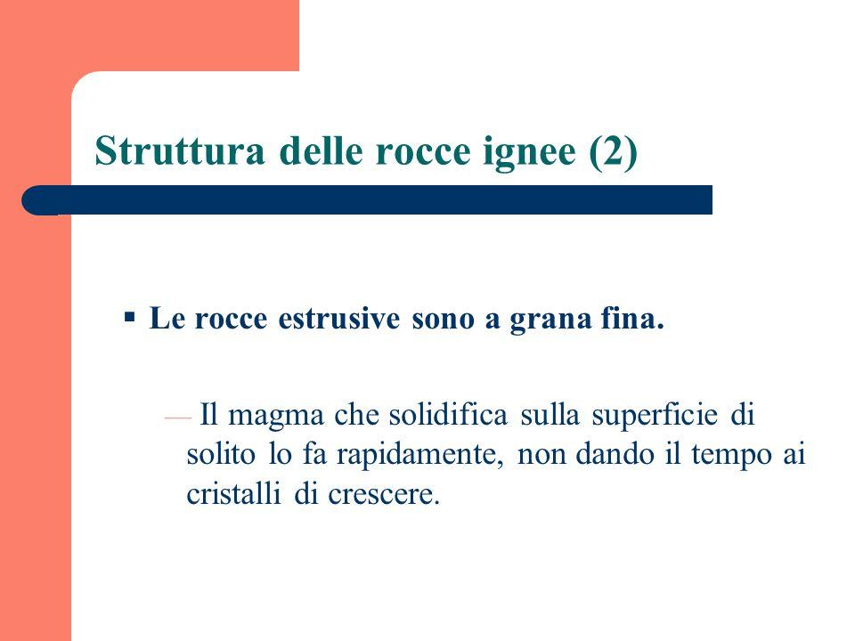 Struttura delle rocce ignee (2) Le rocce estrusive sono a grana fina. Il magma che solidifica sulla superficie di solito lo fa rapidamente, non dando