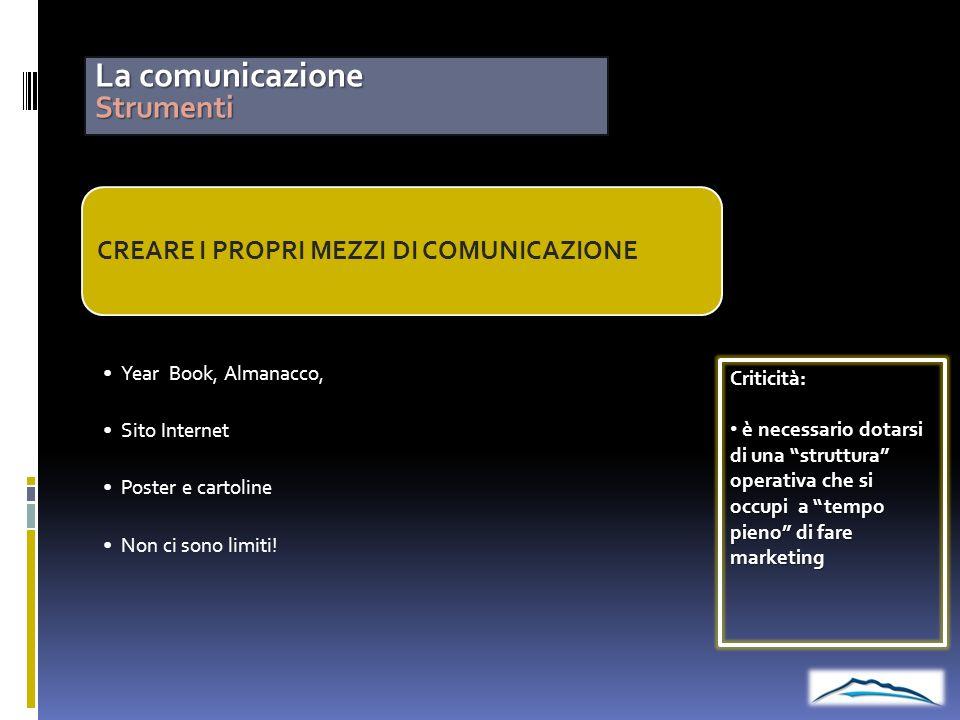La comunicazione Strumenti CREARE I PROPRI MEZZI DI COMUNICAZIONE Year Book, Almanacco, Sito Internet Poster e cartoline Non ci sono limiti!Criticità: