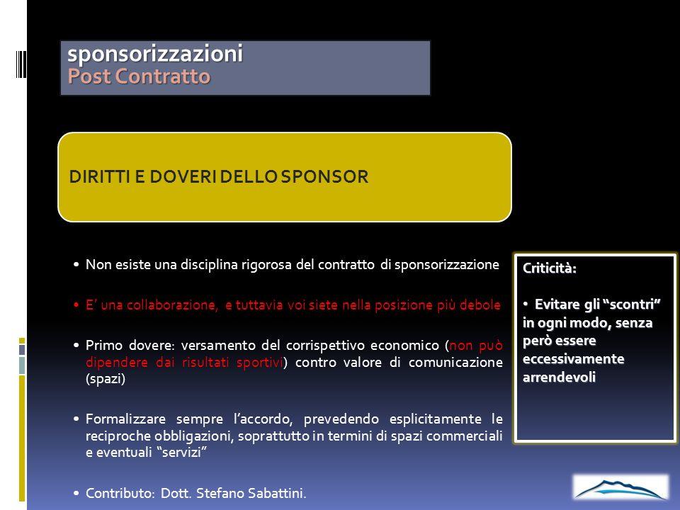 sponsorizzazioni Post Contratto DIRITTI E DOVERI DELLO SPONSOR Non esiste una disciplina rigorosa del contratto di sponsorizzazione E una collaborazio
