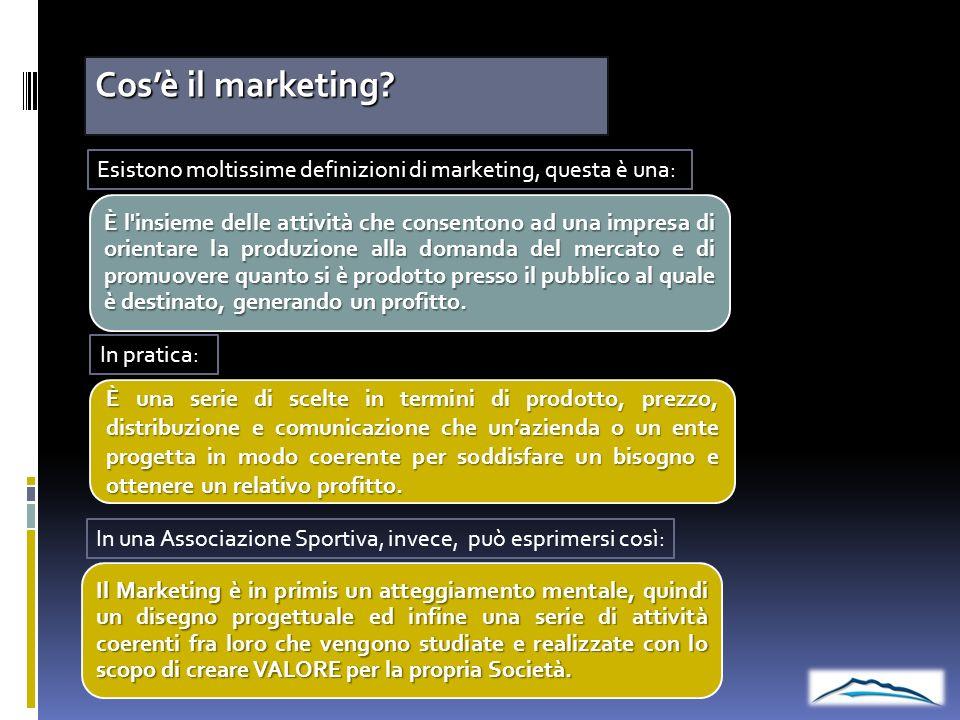 Cosè il marketing? È l'insieme delle attività che consentono ad una impresa di orientare la produzione alla domanda del mercato e di promuovere quanto