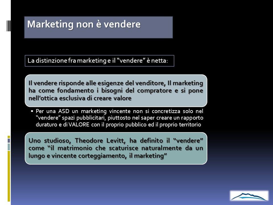 Marketing non è vendere La distinzione fra marketing e il vendere è netta: Il vendere risponde alle esigenze del venditore, Il marketing ha come fonda