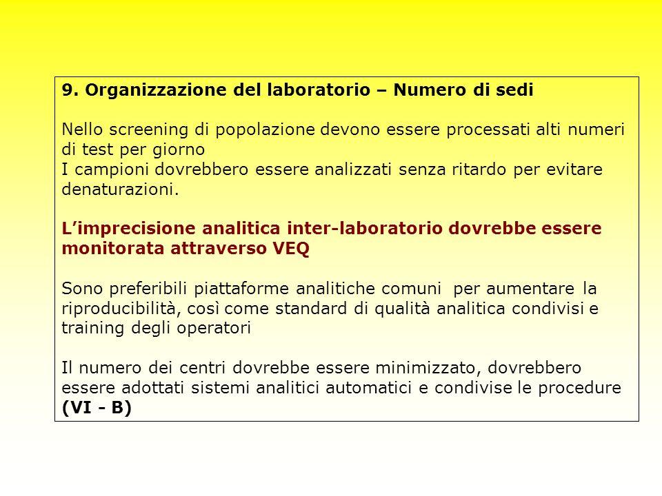 9. Organizzazione del laboratorio – Numero di sedi Nello screening di popolazione devono essere processati alti numeri di test per giorno I campioni d