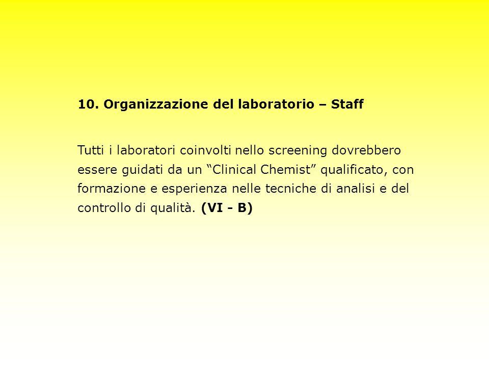 10. Organizzazione del laboratorio – Staff Tutti i laboratori coinvolti nello screening dovrebbero essere guidati da un Clinical Chemist qualificato,