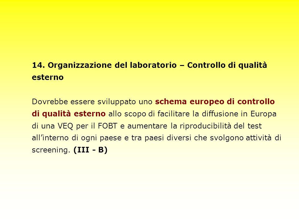 14. Organizzazione del laboratorio – Controllo di qualità esterno Dovrebbe essere sviluppato uno schema europeo di controllo di qualità esterno allo s
