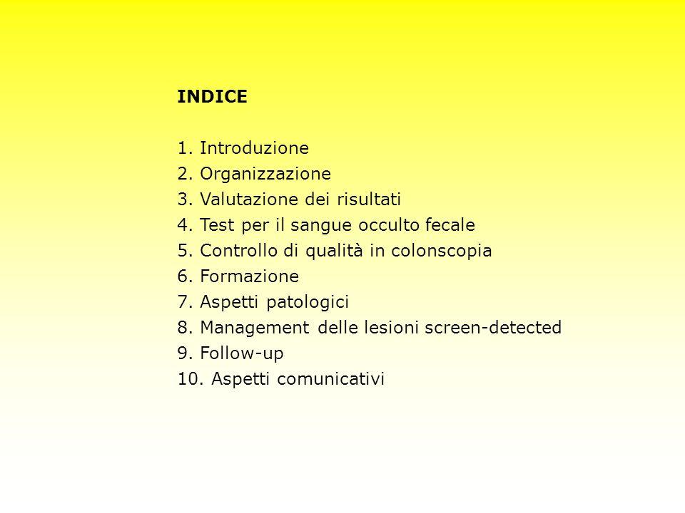 INDICE 1. Introduzione 2. Organizzazione 3. Valutazione dei risultati 4. Test per il sangue occulto fecale 5. Controllo di qualità in colonscopia 6. F