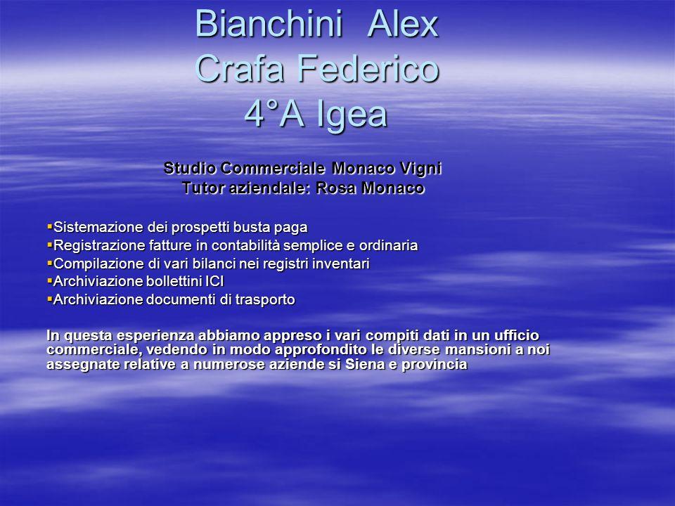 Bianchini Alex Crafa Federico 4°A Igea Studio Commerciale Monaco Vigni Tutor aziendale: Rosa Monaco Sistemazione dei prospetti busta paga Sistemazione