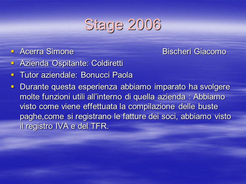 Stage 2006 Acerra Simone Bischeri Giacomo Acerra Simone Bischeri Giacomo Azienda Ospitante: Coldiretti Azienda Ospitante: Coldiretti Tutor aziendale: