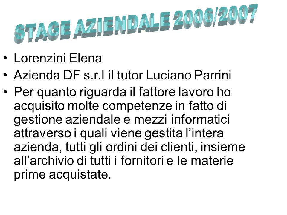 Lorenzini Elena Azienda DF s.r.l il tutor Luciano Parrini Per quanto riguarda il fattore lavoro ho acquisito molte competenze in fatto di gestione azi