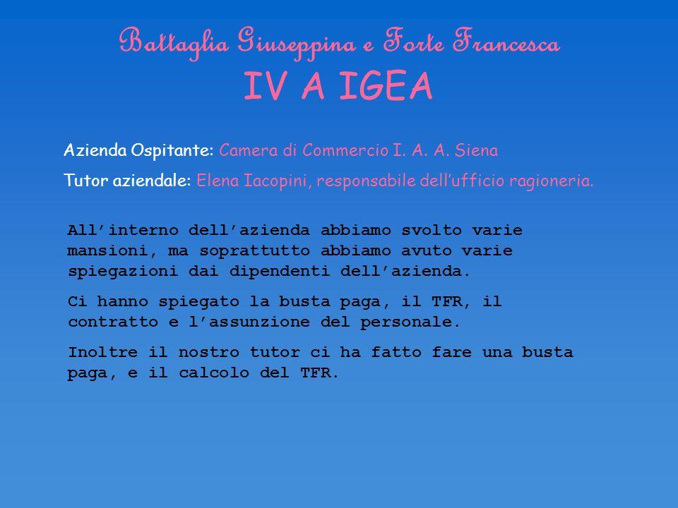 Battaglia Giuseppina e Forte Francesca IV A IGEA Azienda Ospitante: Camera di Commercio I. A. A. Siena Tutor aziendale: Elena Iacopini, responsabile d