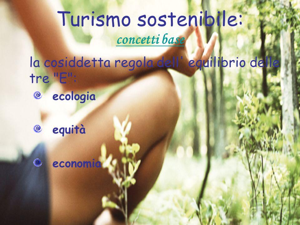 Turismo sostenibile: concetti base la cosiddetta regola dell' equilibrio delle tre