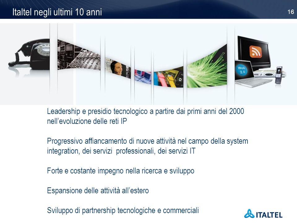 16 Leadership e presidio tecnologico a partire dai primi anni del 2000 nellevoluzione delle reti IP Progressivo affiancamento di nuove attività nel ca