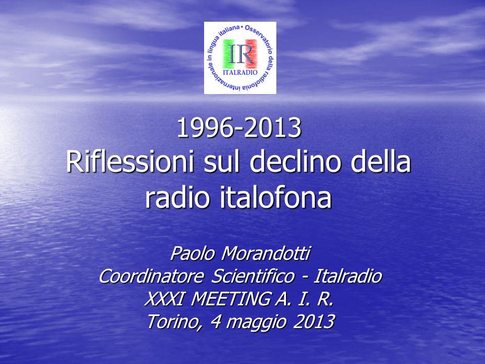 Introduzione In questa presentazione vedremo levoluzione dei programmi radiofonici internazionali in italiano dal 1996 a oggi.