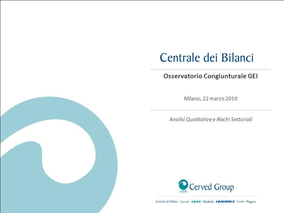 Osservatorio Congiunturale GEI Milano, 22 marzo 2010 Analisi Qualitative e Rischi Settoriali
