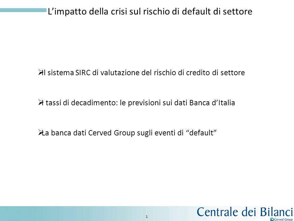 1 Limpatto della crisi sul rischio di default di settore Il sistema SIRC di valutazione del rischio di credito di settore I tassi di decadimento: le previsioni sui dati Banca dItalia La banca dati Cerved Group sugli eventi di default