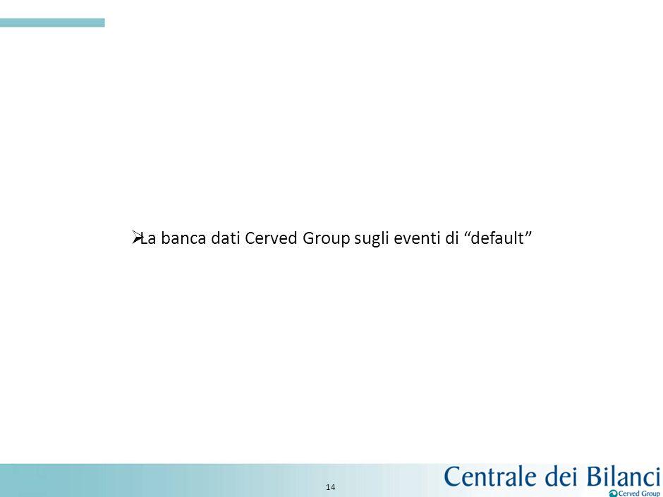 13 I servizi Fonte: previsioni Cerved Group su dati Banca DItalia