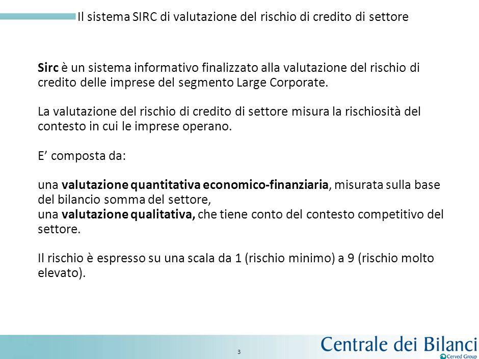 3 Sirc è un sistema informativo finalizzato alla valutazione del rischio di credito delle imprese del segmento Large Corporate.