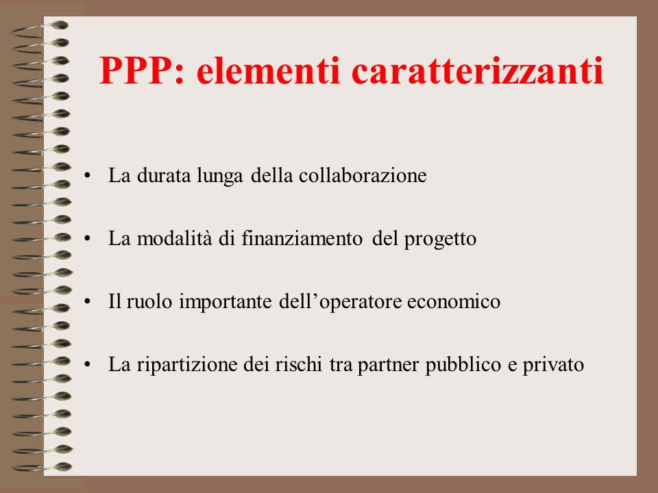 PPP: elementi caratterizzanti La durata lunga della collaborazione La modalità di finanziamento del progetto Il ruolo importante delloperatore economi