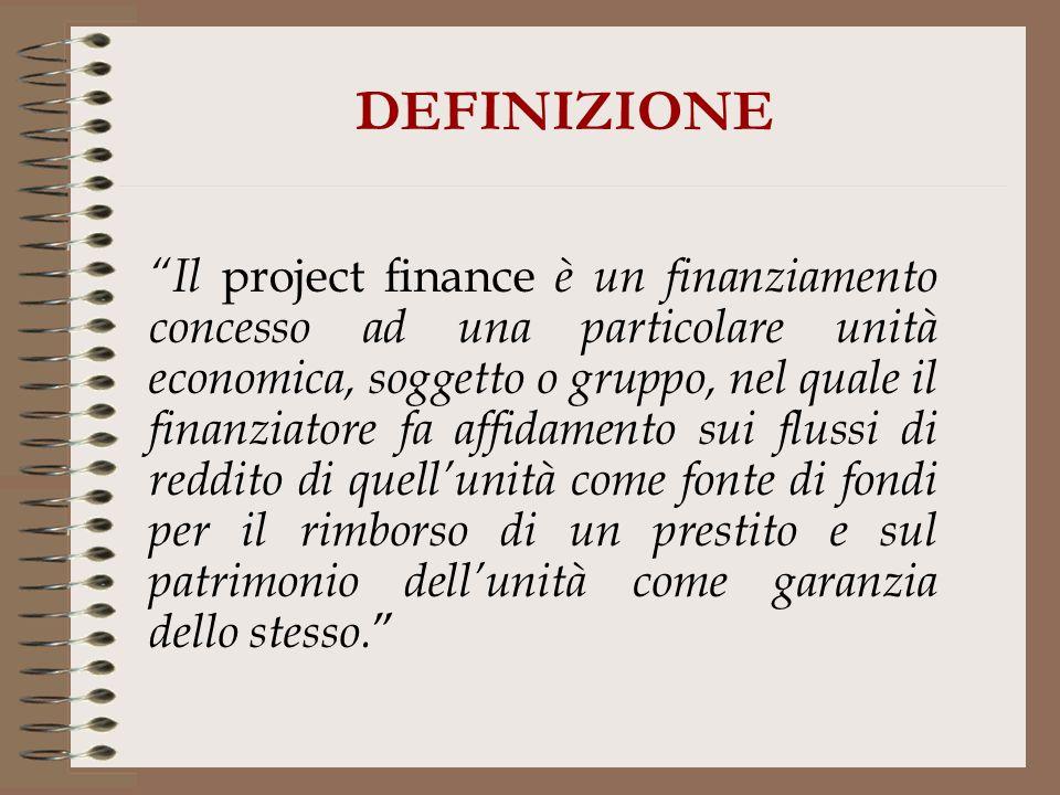 DEFINIZIONE Il project finance è un finanziamento concesso ad una particolare unità economica, soggetto o gruppo, nel quale il finanziatore fa affidam