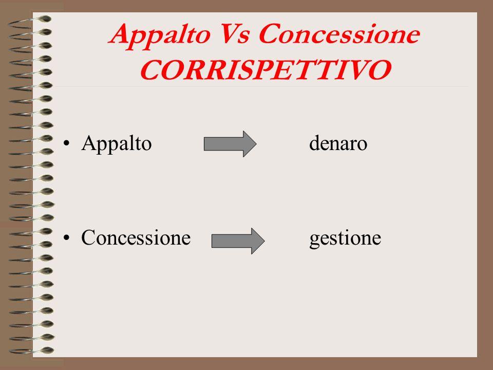 Appalto Vs Concessione CORRISPETTIVO Appaltodenaro Concessionegestione