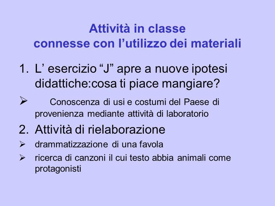 Attività in classe connesse con lutilizzo dei materiali 1.L esercizio J apre a nuove ipotesi didattiche:cosa ti piace mangiare.