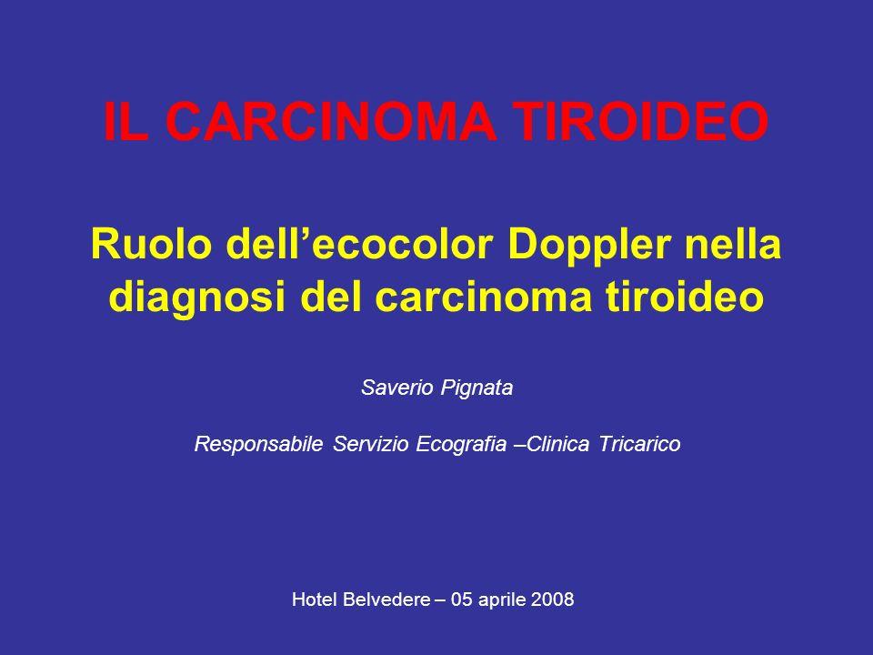 Segni ecografici: MORFOLOGIA Forma sferica del nodulo è predittiva di malignità Esame citologico su 993 noduli solidi: 18% di carcinomi in noduli di forma sferica 5% in noduli di forma ovoidale L/C>2,5: 100% predittivo di benignità ___________________________________________________ Rapporto diametro anteroposteriore/diametro trasverso 1 è predittivo di malignità Esame citologico su 7455 noduli: Nel 76% dei noduli maligni e 40% dei noduli benigni A/T 1 (p<0,001) Alexander EK ed altri Thyroid nodule shape and prediction of malignancy Thyroid.