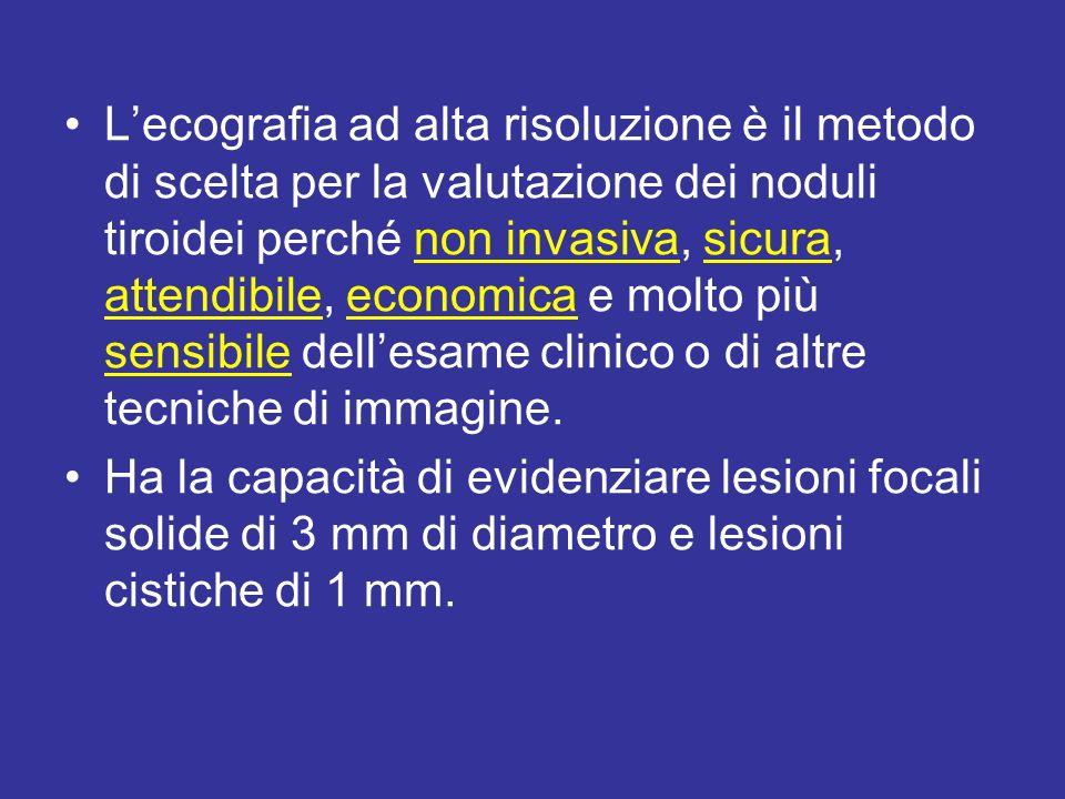 Segni ecografici: ASSOCIAZIONE Lipoecogenicità + uno dei primi 3 caratteri sospetti (microcalcificazioni, margini irregolari, ipervascolarizzazione intranodulare caotica) indicano che un nodulo è ad alto rischio di essere un carcinoma.