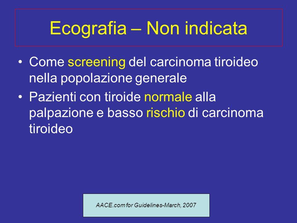 Ecografia – Utilità Ricerca dei noduli in pazienti ad alto rischio e con esame clinico negativo Predire quali noduli hanno alto rischio di essere maligni Ecografia come guida per il prelievo citologico