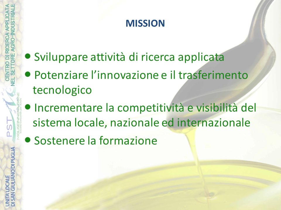 MISSION Sviluppare attività di ricerca applicata Potenziare linnovazione e il trasferimento tecnologico Incrementare la competitività e visibilità del