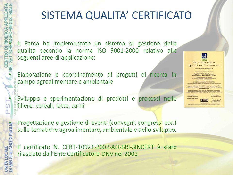 SISTEMA QUALITA CERTIFICATO Il Parco ha implementato un sistema di gestione della qualità secondo la norma ISO 9001-2000 relativo alle seguenti aree d