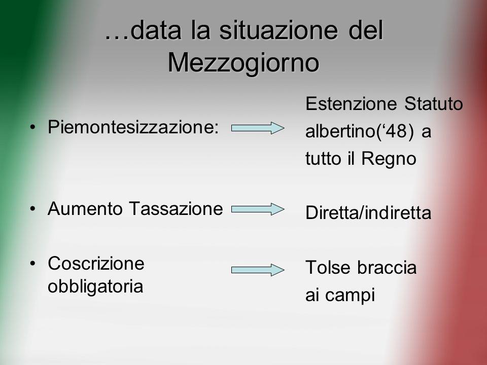 …data la situazione del Mezzogiorno Piemontesizzazione: Aumento Tassazione Coscrizione obbligatoria Estenzione Statuto albertino(48) a tutto il Regno