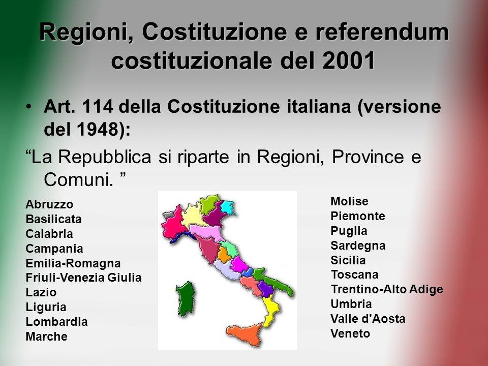 Regioni, Costituzione e referendum costituzionale del 2001 Art. 114 della Costituzione italiana (versione del 1948): La Repubblica si riparte in Regio