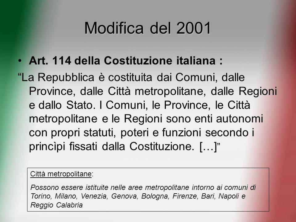 Modifica del 2001 Art. 114 della Costituzione italiana : La Repubblica è costituita dai Comuni, dalle Province, dalle Città metropolitane, dalle Regio