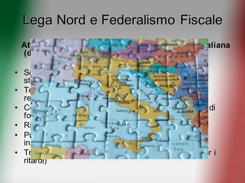 Lega Nord e Federalismo Fiscale Attuazione dellarticolo 119 della Costituzione Italiana (del 2001) attraverso Sostituzione del criterio di spesa stori