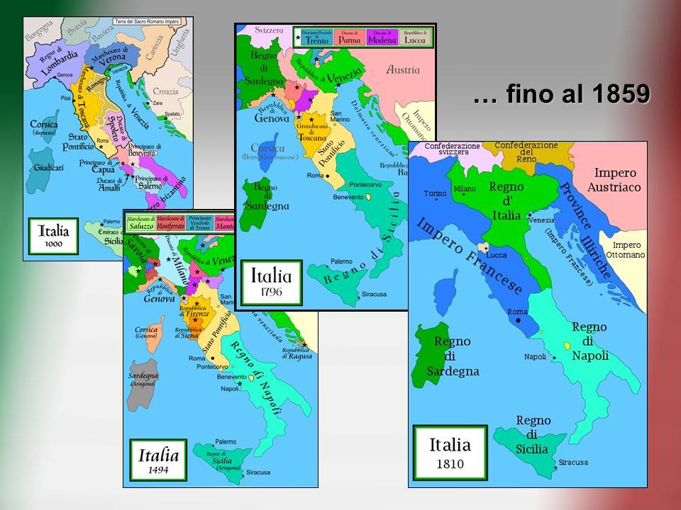 1860 - 61 Unificazione dellItalia 11 Luglio 59 – Armistizio di Villafranca, acquisizione della Lombardia Gennaio 60 – Cessione di Nizza e Savoia Marzo 60 – Annessioni di Emilia, Romagna e Toscana SPEDIZIONE DEI MILLE 5/6 MAGGIO 60 Ottobre 60 – Annessioni di Sicilia e Province Meridionali Novembre 60 – Annessioni di Marche e Umbria 17 MARZO 1861 PROCLAMAZIONE DI VITTORIO EMANUELE II RE DITALIA 3 Ottobre 66 – Pace di Vienna, conquista del Veneto 20 Settembre 70 – Breccia di Porta Pia, annessione di Roma e Lazio