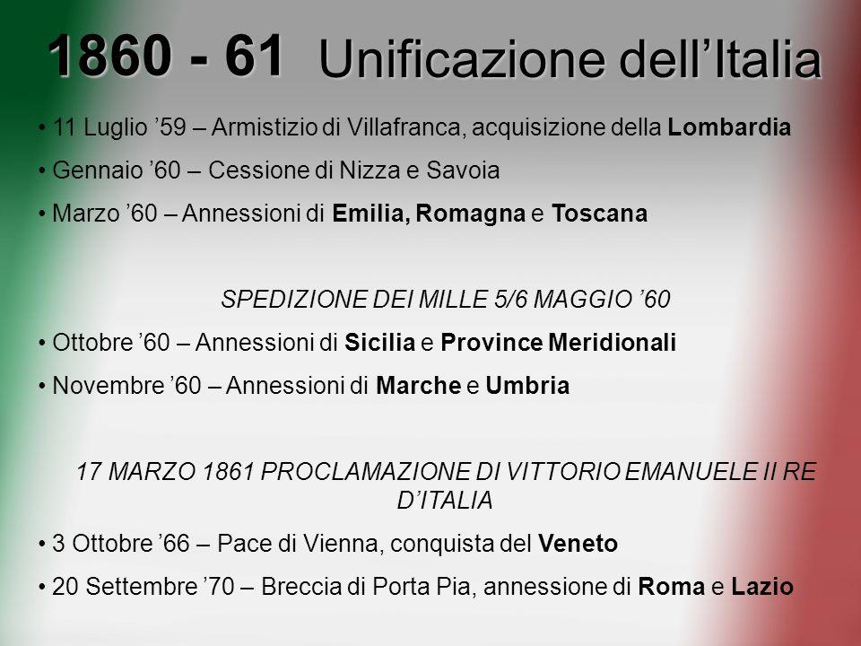 1860 - 61 Unificazione dellItalia 11 Luglio 59 – Armistizio di Villafranca, acquisizione della Lombardia Gennaio 60 – Cessione di Nizza e Savoia Marzo