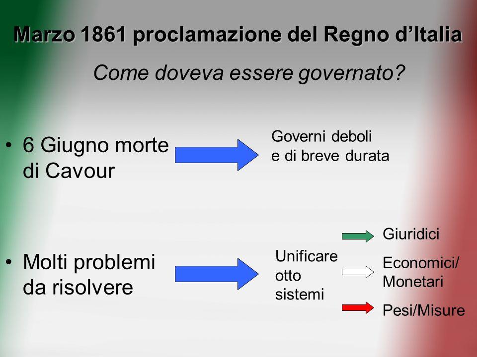 Marzo 1861 proclamazione del Regno dItalia 6 Giugno morte di Cavour Molti problemi da risolvere Come doveva essere governato? Governi deboli e di brev