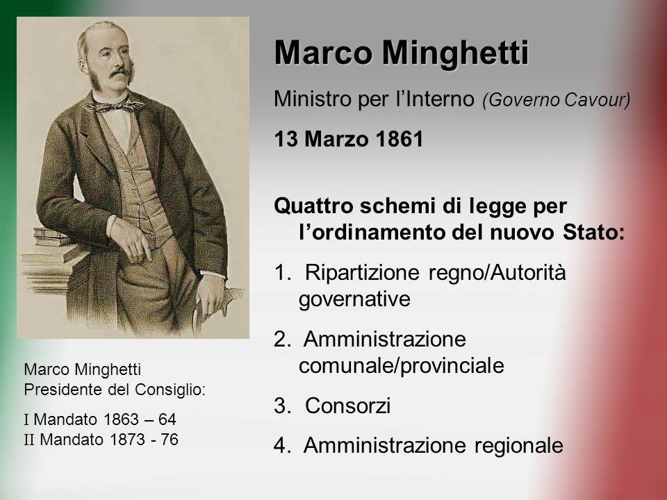 Marco Minghetti Ministro per lInterno (Governo Cavour) 13 Marzo 1861 Quattro schemi di legge per lordinamento del nuovo Stato: 1. Ripartizione regno/A