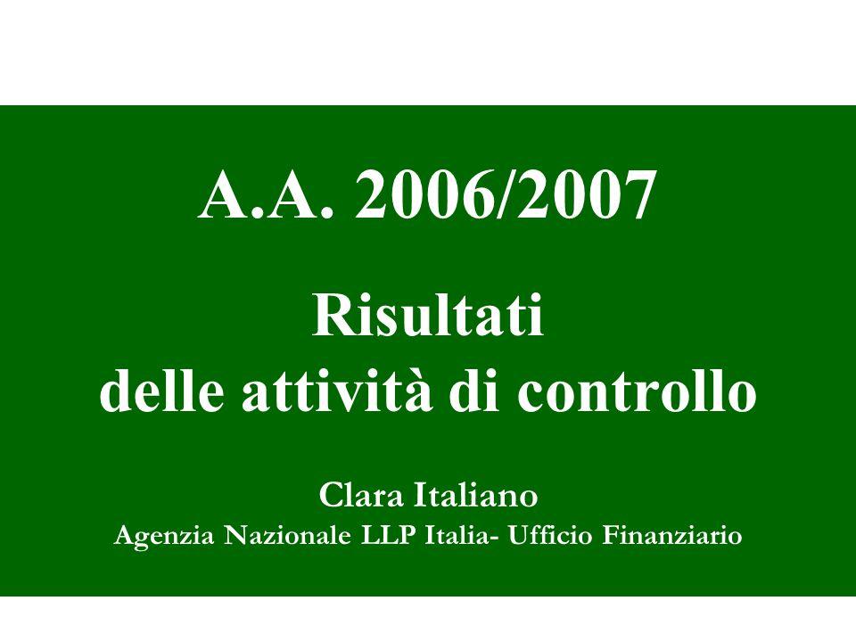 A.A. 2006/2007 Risultati delle attività di controllo Clara Italiano Agenzia Nazionale LLP Italia- Ufficio Finanziario