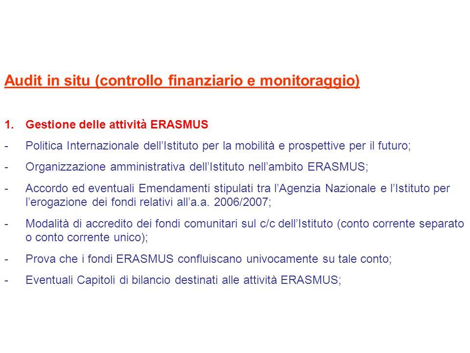 Audit in situ (controllo finanziario e monitoraggio) 1.Gestione delle attività ERASMUS -Politica Internazionale dellIstituto per la mobilità e prospet
