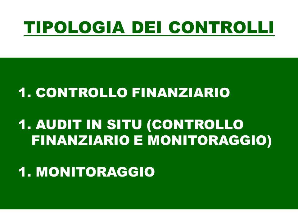 TIPOLOGIA DEI CONTROLLI 1. CONTROLLO FINANZIARIO 1. AUDIT IN SITU (CONTROLLO FINANZIARIO E MONITORAGGIO) 1. MONITORAGGIO