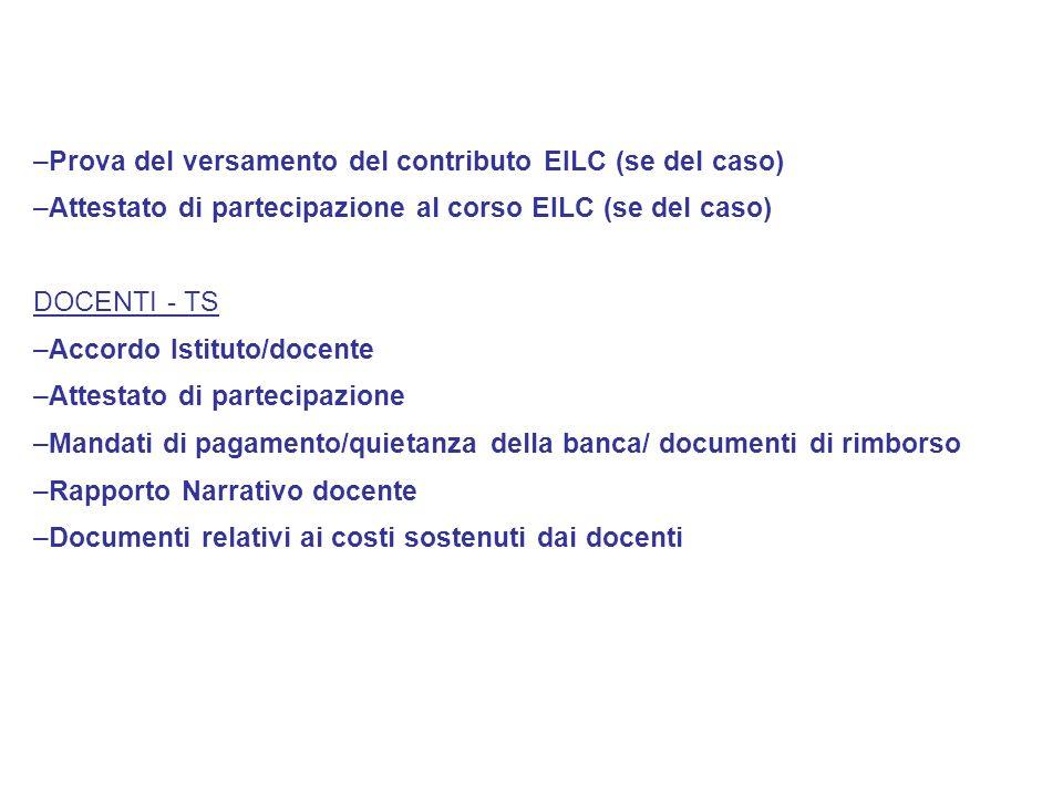 –Prova del versamento del contributo EILC (se del caso) –Attestato di partecipazione al corso EILC (se del caso) DOCENTI - TS –Accordo Istituto/docent