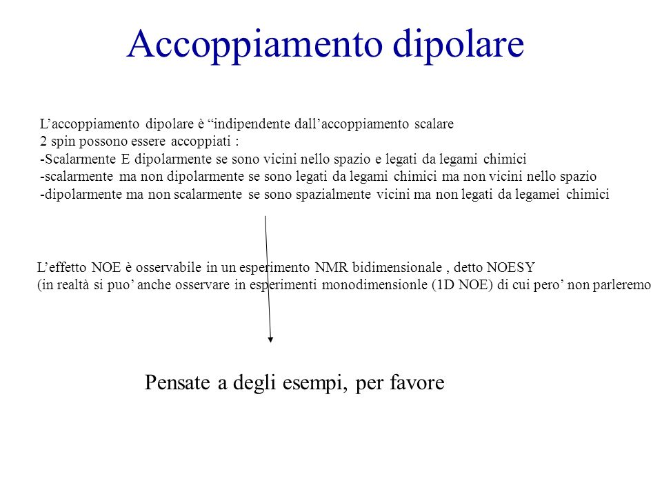 Accoppiamento dipolare Laccoppiamento dipolare è indipendente dallaccoppiamento scalare 2 spin possono essere accoppiati : -Scalarmente E dipolarmente