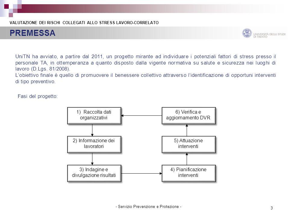 3 - Servizio Prevenzione e Protezione - UniTN ha avviato, a partire dal 2011, un progetto mirante ad individuare i potenziali fattori di stress presso