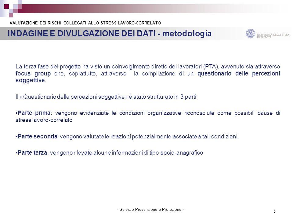 5 - Servizio Prevenzione e Protezione - INDAGINE E DIVULGAZIONE DEI DATI - metodologia VALUTAZIONE DEI RISCHI COLLEGATI ALLO STRESS LAVORO-CORRELATO L