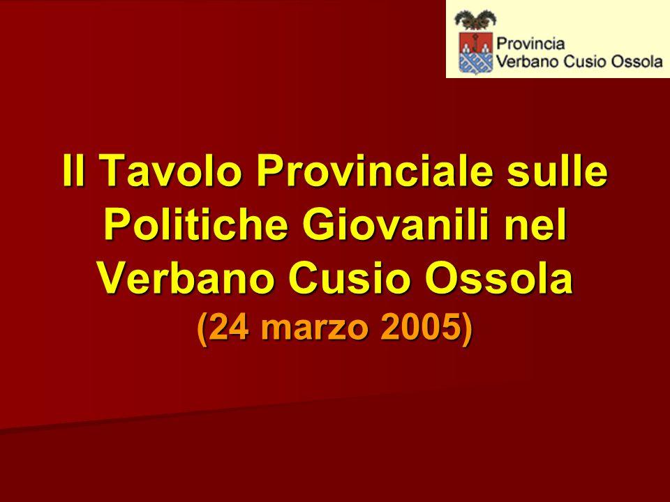 Il Tavolo Provinciale sulle Politiche Giovanili nel Verbano Cusio Ossola (24 marzo 2005)