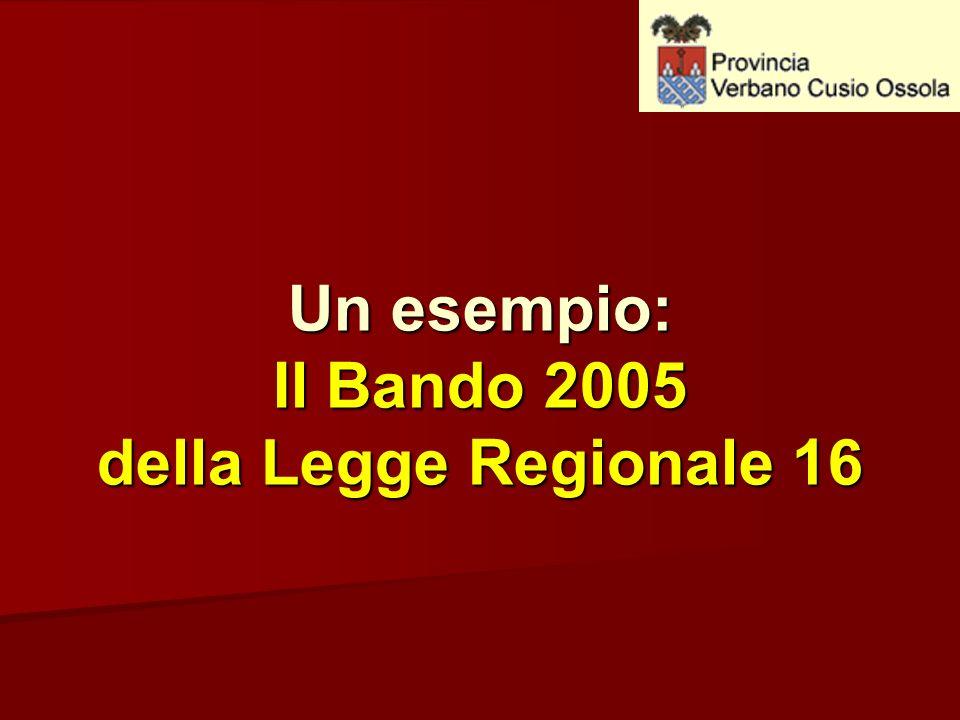 Un esempio: Il Bando 2005 della Legge Regionale 16