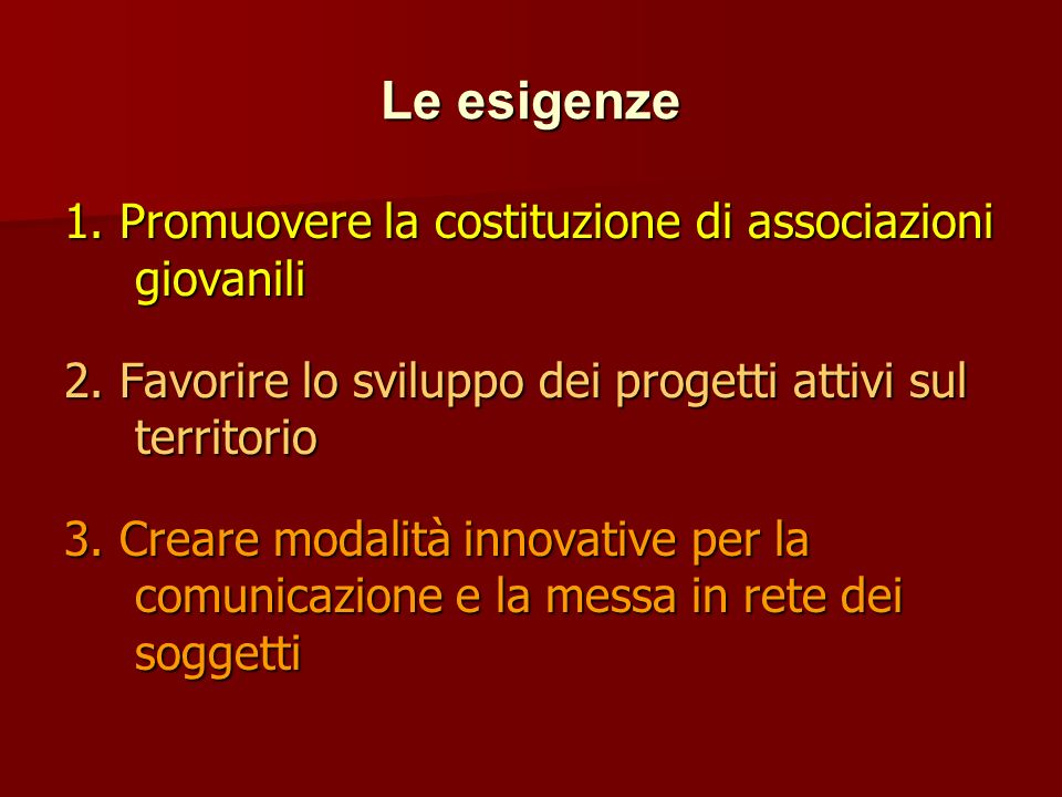 Le esigenze 1. Promuovere la costituzione di associazioni giovanili 2.
