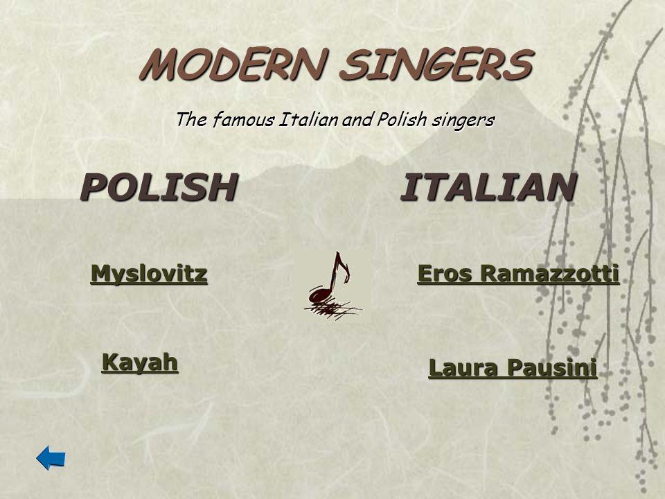 MODERN SINGERS POLISHITALIAN Myslovitz Kayah Eros Ramazzotti Eros Ramazzotti Laura Pausini Laura Pausini The famous Italian and Polish singers