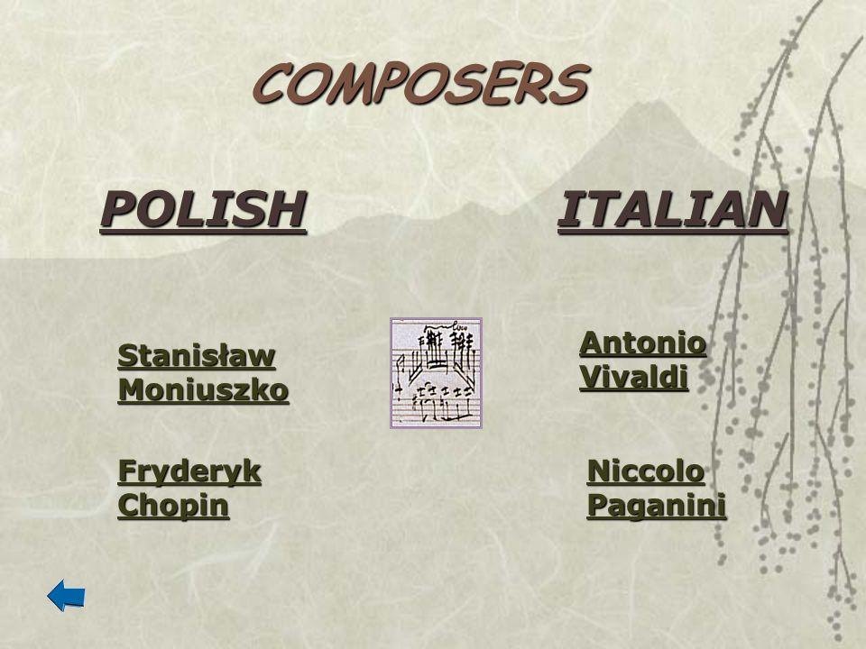 COMPOSERS POLISHITALIAN Stanisław Moniuszko Stanisław Moniuszko Fryderyk Chopin Fryderyk Chopin Antonio Vivaldi Antonio Vivaldi Niccolo Paganini Nicco