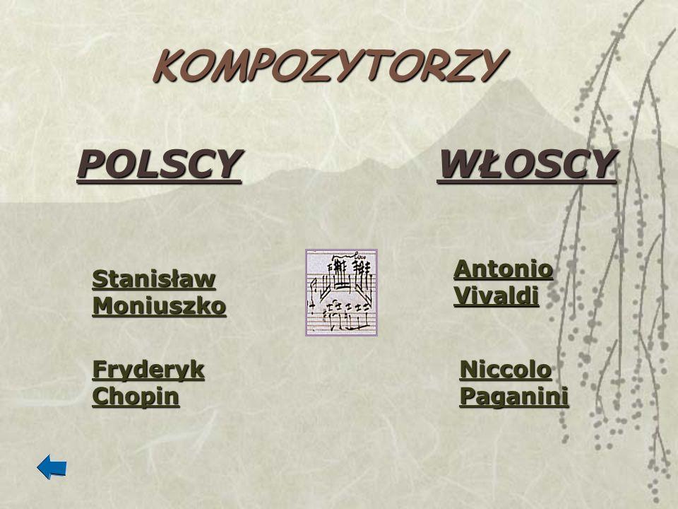 KOMPOZYTORZY POLSCYWŁOSCY Stanisław Moniuszko Stanisław Moniuszko Fryderyk Chopin Fryderyk Chopin Antonio Vivaldi Antonio Vivaldi Niccolo Paganini Nic